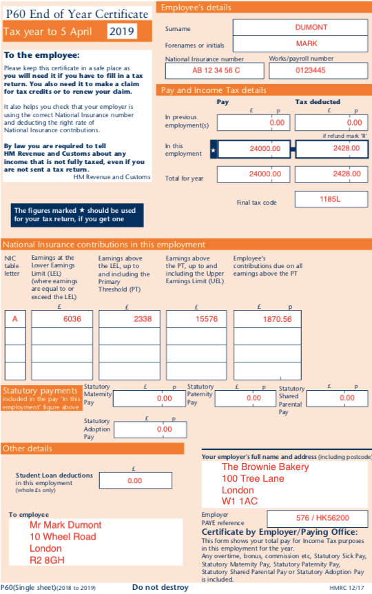 A P60 form outlines an employee's gross pay, tax paid and National Insurance contributions