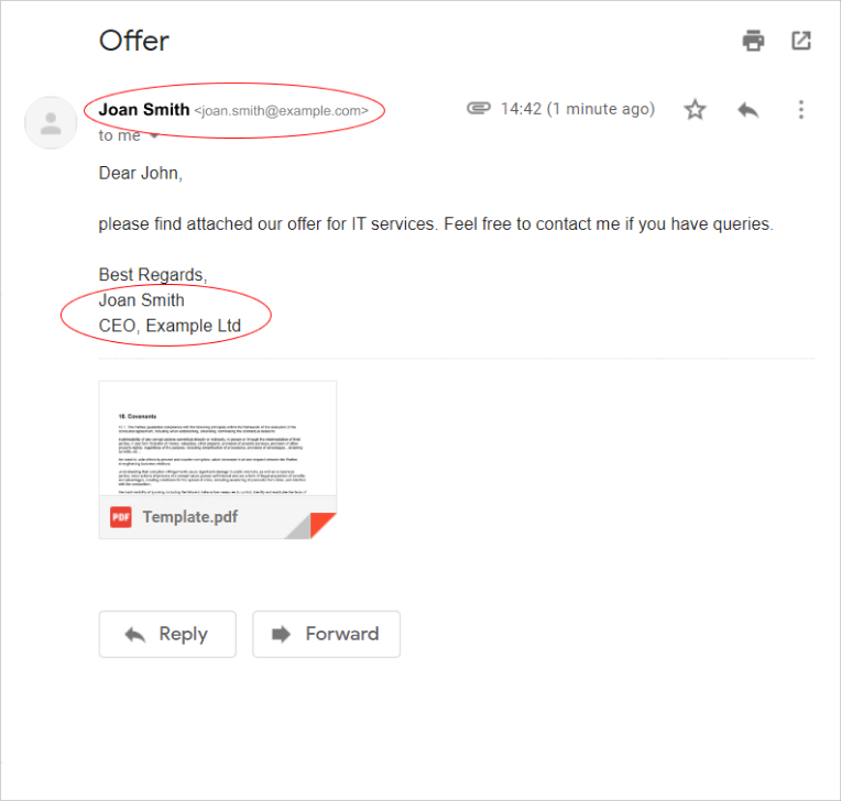 an e-signature used in an email