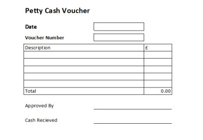 A petty cash voucher is used to