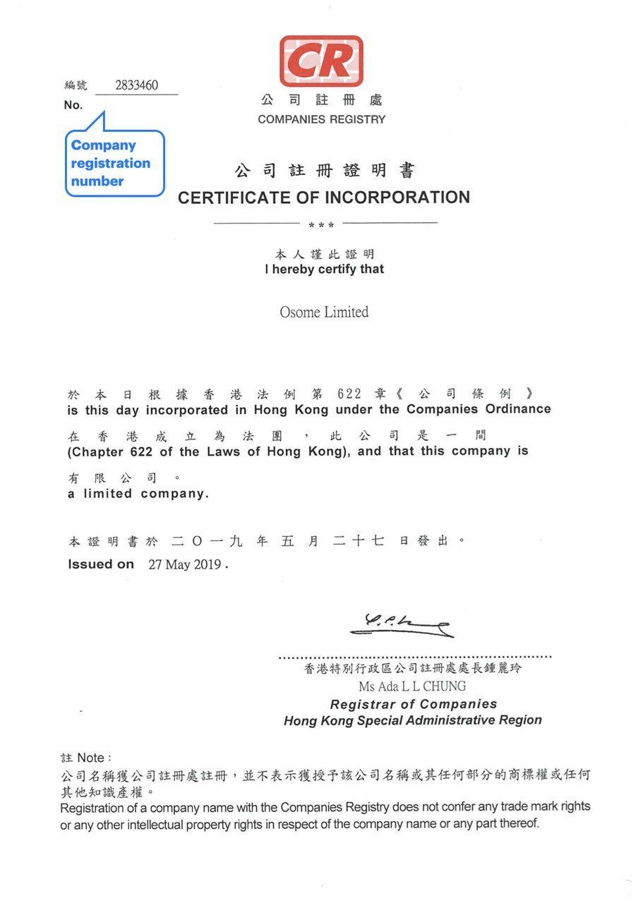 A Certificate of Incorporation in Hong Kong