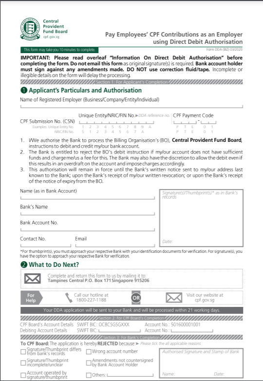 Osome SG CPF Direct Debit Authorisation Form