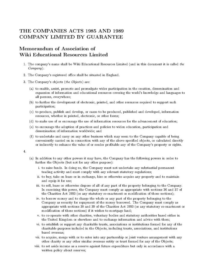 Osome UK Memorandum of Association