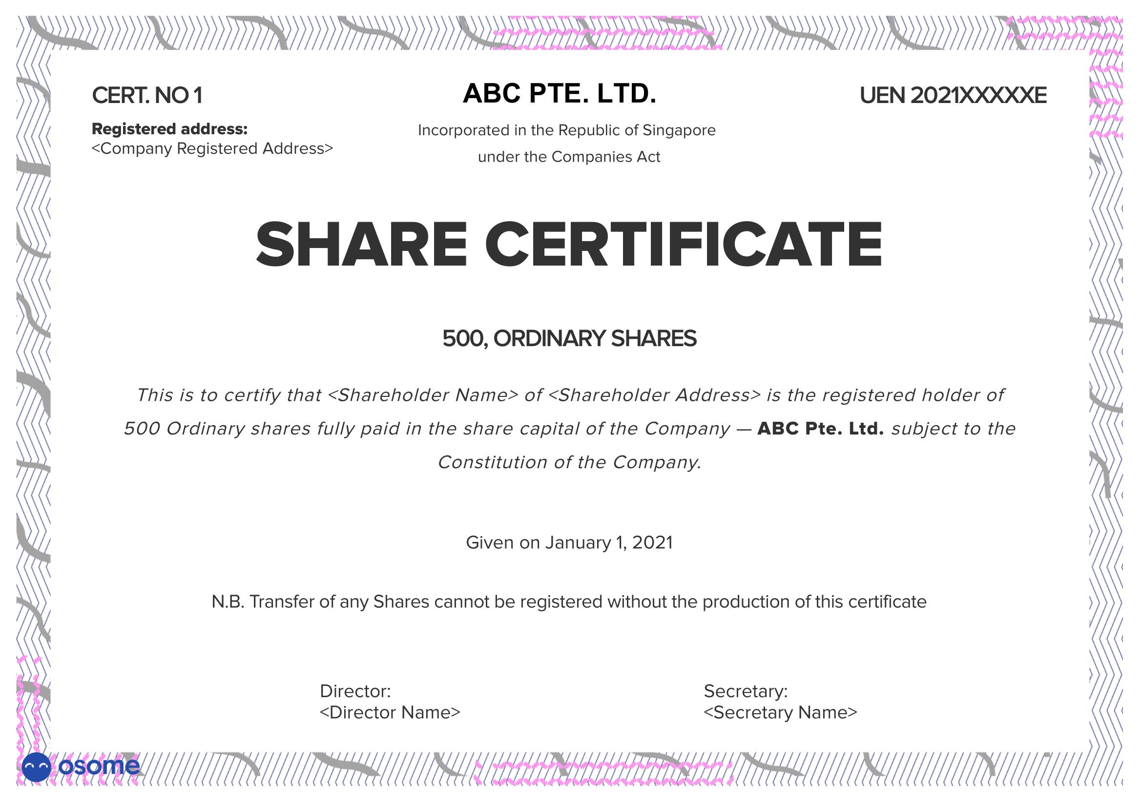 ABC Pte Ltd Sample Share Certificate