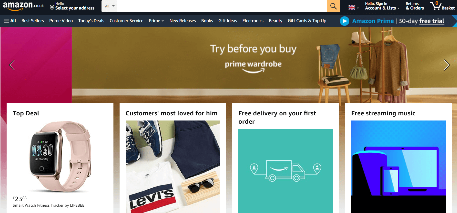Screenshot of Amazon UK