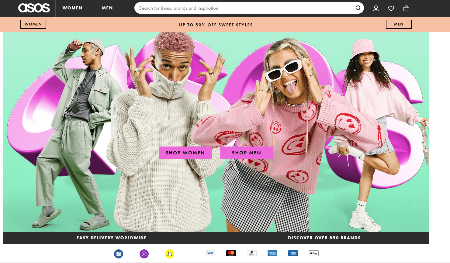 Screenshot of Asos UK