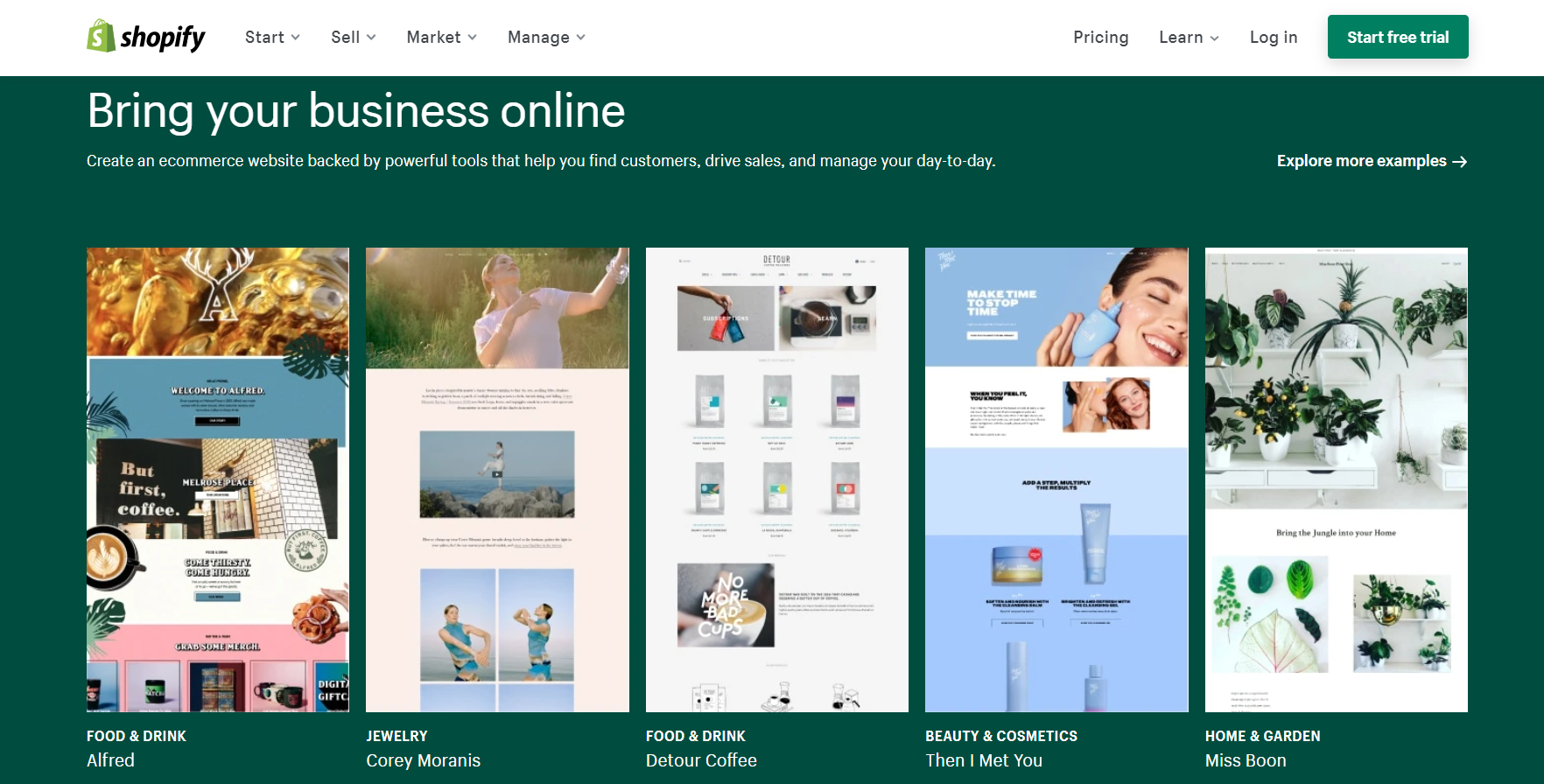 Screenshot of Shopify UK