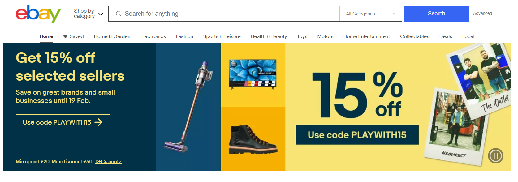 Screenshot of eBay UK