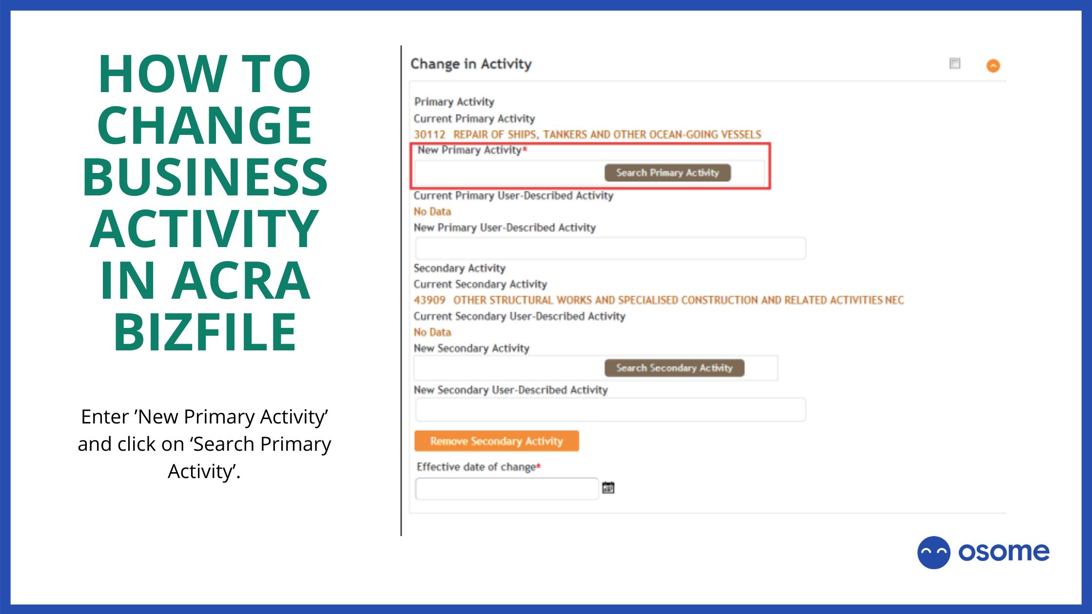 change Business Activity in ACRA BizFile