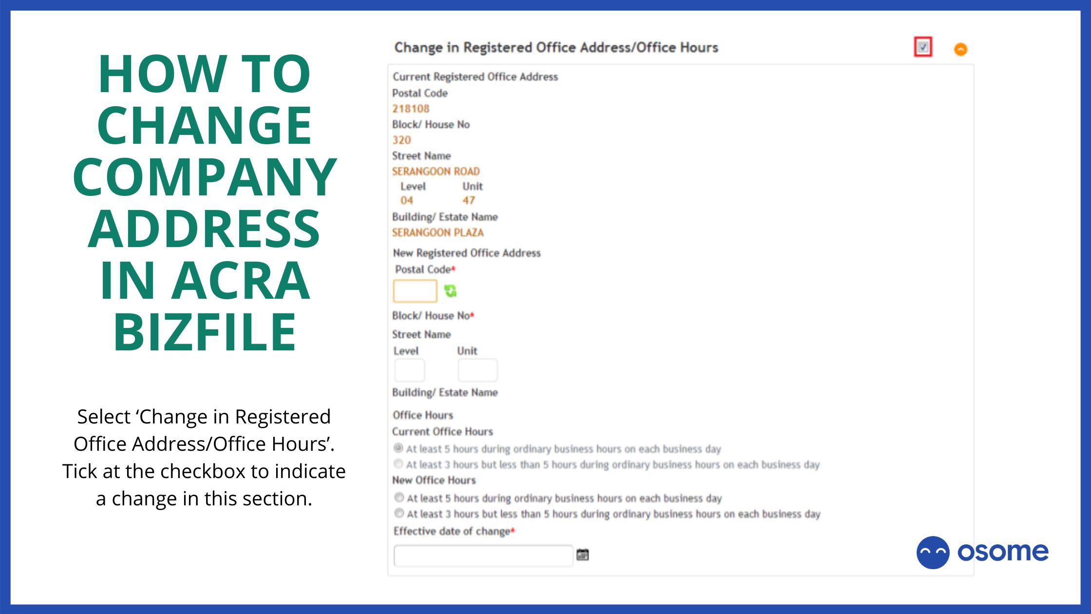 change company address in ACRA BizFile