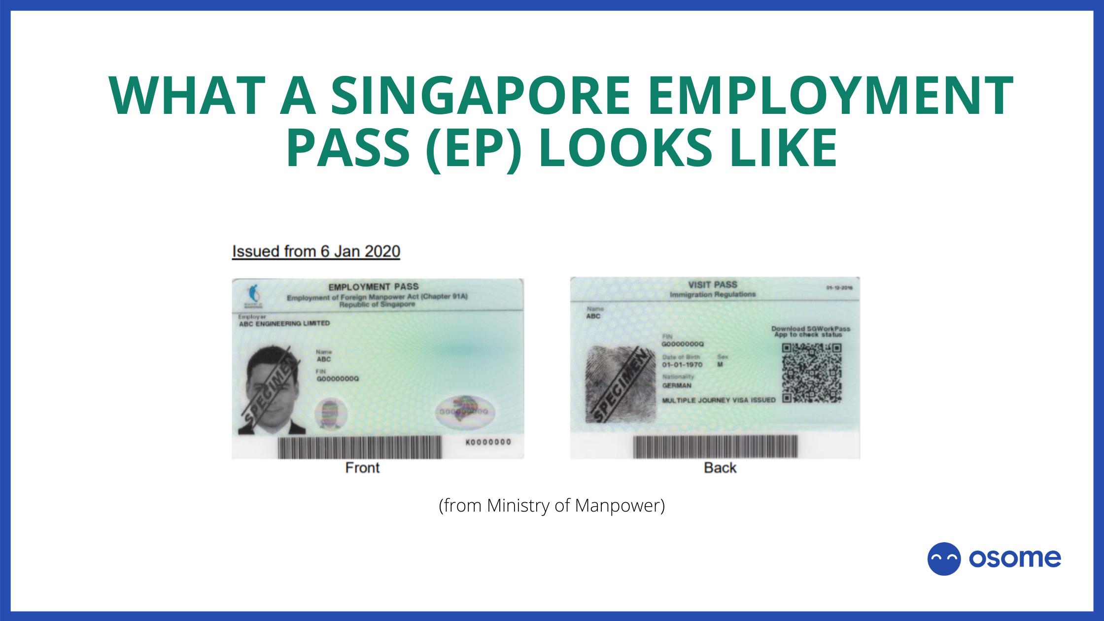 Example singapore employment pass EP 2021