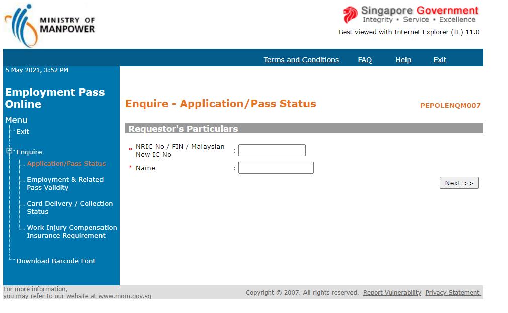 status employment pass singapore