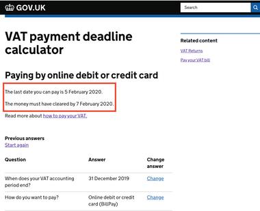 UK government offers VAT payment deadline calculator