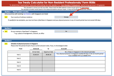 IRAS offers you a tax treaty calculator for non residents