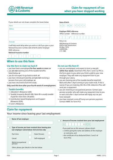p50 form uk example
