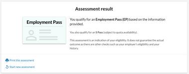 Osome SG Employment Pass S Pass Self Assessment Tool