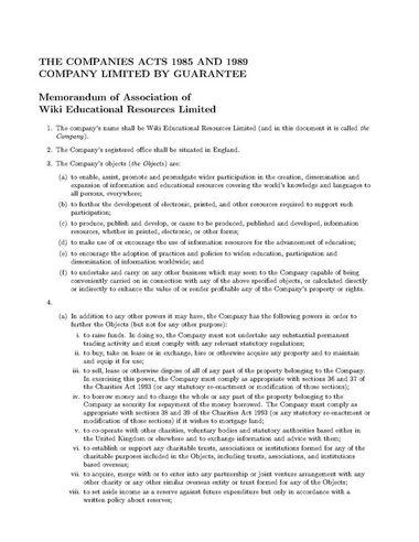 Osome UK Memorandum of Association