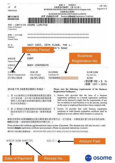 Business Registration Certificate in Hong Kong